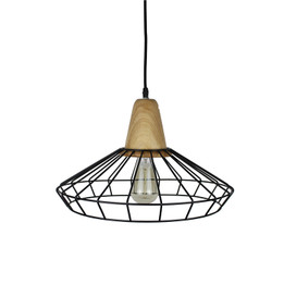 Industry Iron Wood Lamp - Wide