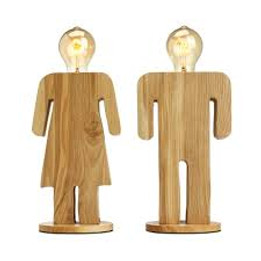 Wooden Table Lamp - Woman Shape