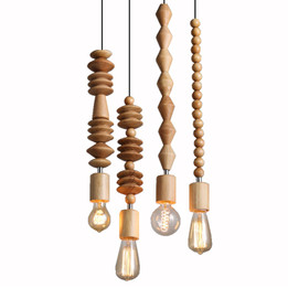 Wooden Hanging Lamp - Set of 4