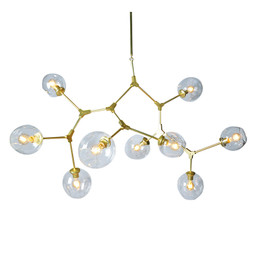 Replica Lindsey Adelman Bubble chandelier - 9 heads - gold clear