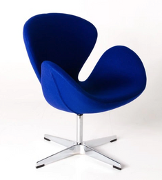 Ex Display - Replica Swan Chair - Wool Blend - Blue - CLEARANCE
