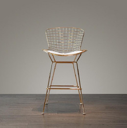 Replica Harry Bertoia Wire Bar Stool - 61cm - Rose Gold Chrome - various colour cushions