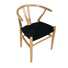 Replica Hans Wegner Wishbone Chair - Natural Frame (grain not visible) Black seat - Beech Timber
