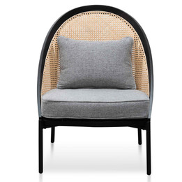CLC6384-SD Rattan Back Lounge Chair - Grey Seat and Black Frame (cf)