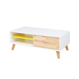 Ex Display - Scandinavian Low Line Entertainment unit or Coffee table - 120cm - white - natural - CLEARANCE