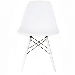 Replica Charles Eames DSW Dining Chair - plastic, black steel, white timber legs - various colour seats