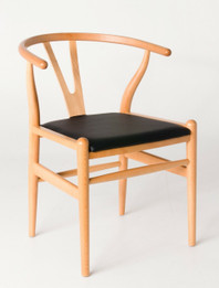 "Ex Display - Replica Hans Wegner ""CH24"" Wishbone Chair - Natural Frame with PU seat - Beech Timber - CLEARANCE"