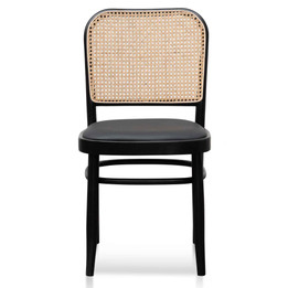Bonilla Black Cushion Dining Chair - Natural Rattan (cf)