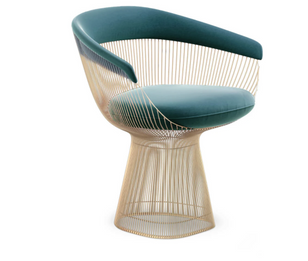 Replica Warren Platner Armchair-Premium Rose Gold with Premium Green/Teal Velvet
