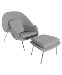 Replica Womb Chair And Ottoman - Light Grey Cashmere - CLEARANCE