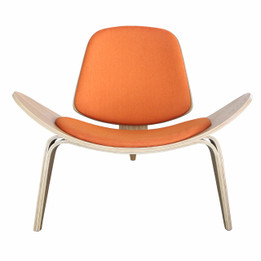 Replica CH07 Shell Chair - Natural Timber, Leather Cushion in Various Colours