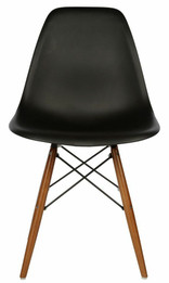 Ex Display - Replica Charles Eames DSW Dining Chair - Black plastic seat -  black steel, walnut timber legs - CLEARANCE