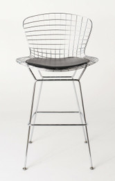 Ex Display - Replica Harry Bertoia Wire Bar Stool - 81cm - Chrome - black cushion - CLEARANCE