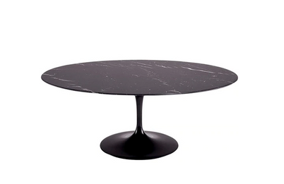 Ex Display - Replica Tulip Table - Black Cararra Marble - Oval 180cm - CLEARANCE