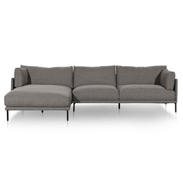Emilis 4 Seater Left Chaise Fabric Sofa - Oslo Grey (cf)