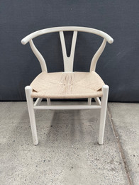 Ex Display - Replica Hans Wegner Wishbone Chair - White Frame Natural seat - CLEARANCE