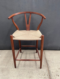 Ex Display - Replica Hans Wegner Wishbone Barstools Beech 65 cm - Natural Rattan Seat, Light Walnut Wood Colour - CLEARANCE