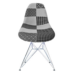Replica Eames DSR Eiffel Dining Chair - black/white patchwork, chrome legs