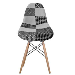Replica Charles Eames DSW Dining Chair - black/white patchwork, black steel, natural timber legs