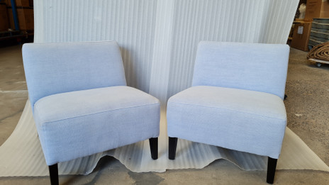 Ex Display - Accent Chair - Blue Linen - CLEARANCE