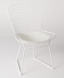 Replica Harry Bertoia Bird Chair white powdercoated with white seat cushion only - Pre-Order & Save