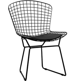 Replica Harry Bertoia Bird Chair black powdercoated with black seat cushion only - Pre-Order & Save