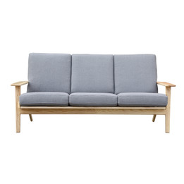 Replica Hans Wegner Plank Sofa-3-seater in Fabric with Natural Frame