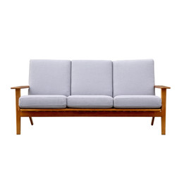Replica Hans Wegner Plank Sofa-3-seater in Fabric with Walnut Frame