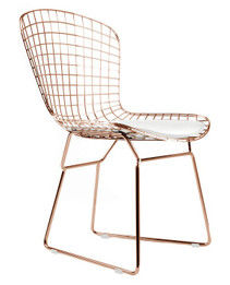Ex Display - Replica Harry Bertoia Bird Chair Rose Gold Version with white cushion - CLEARANCE