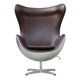 Ex Display - Industrial style of Replica Egg Chair-100% Vintage-Antique Premium Italian Leather in Brown colour & Aluminium  back - CLEARANCE