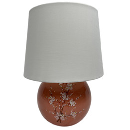 Ceramic Ball Table Lamp - Salmon with Flowers