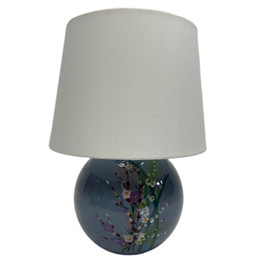 Ceramic Ball Table Lamp - Blue with Flowers