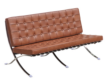 Replica Barcelona 2-seater - Cognac Italian leather with PU piping & buttons