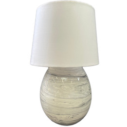 Ceramic Marble effect Table Lamp - White