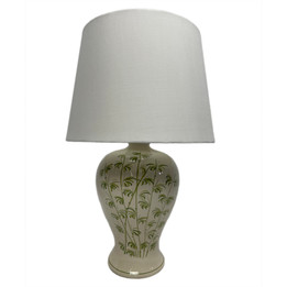 Ceramic Tall Palm Table Lamp - White