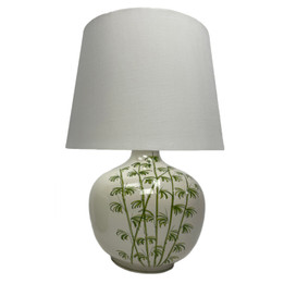 Ceramic Wide Palm Table Lamp - White