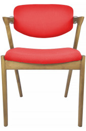 Kai #42 Replica Dining Chair - Red Fabric and Natural Timber