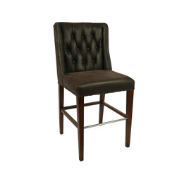Timber High Back Leather Barstool with Studs