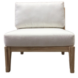 Olympus Lounge Chair - White with Natural Frame