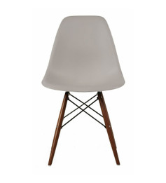 Ex Display - Replica Charles Eames DSW Dining Chair - Light Grey plastic seat -  black steel, walnut timber legs - CLEARANCE