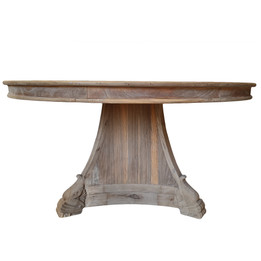 Round Solid Timber Dining Table - Natural