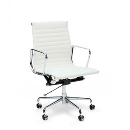 Ex Display - Replica Eames Group Standard Aluminium Office Chair #CF-035 Low-Back & Ribbed-Back Office Chair - Premium Italian Leather - Cream/Off-White - CLEARANCE