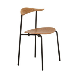 CH88 Stacking Chair Replica Hans Wegner - Black Frame and Natural Wood Seat