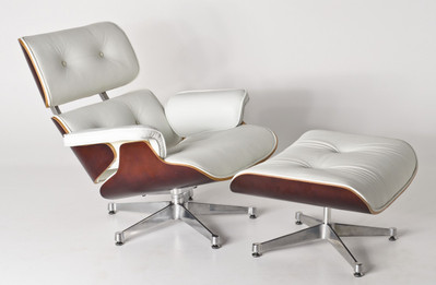 Replica Eames Lounge Chair + Ottoman - White Italian Leather with Cherry Timber