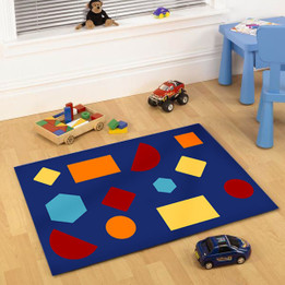 Kids Non Slip Shapes Rug Blue (ux)