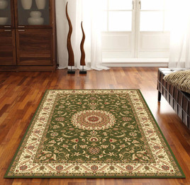 Medallion Rug Green with Ivory Border (ux)