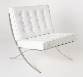 Replica Barcelona chair-white Italian leather with PU pipping & buttons