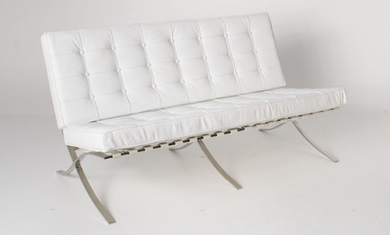 Replica Barcelona 2-seater-white Italian leather with PU pipping & buttons
