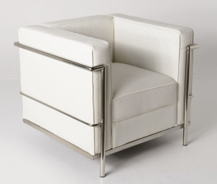 Replica Le Corbusier 1-seater-White Premium Italian Leather with PU piping