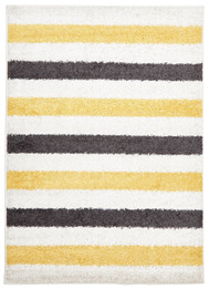 Stencil Shag Rug Yellow Charcoal White (ux)